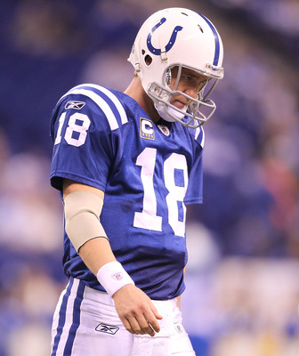 INDIANAPOLIS - NOVEMBER 28:  Peyton Manning #18 of the Indianapolis Colts walks off of the field after throwing an interception during the NFL game against the San Diego Chargers at Lucas Oil Stadium on November 28, 2010 in Indianapolis, Indiana. The Char