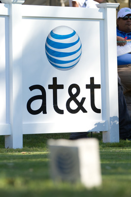 SAN ANTONIO, TX - OCTOBER 30: An AT&T sign is seen during the second round of the AT&T Championship at Oak Hills Country Club on October 30, 2010 in San Antonio, Texas. (Photo by Darren Carroll/Getty Images)