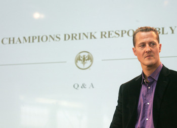 BRUSSELS, BELGIUM - APRIL 02:  Michael Schumacher, seven-time Formula 1 world champion, attends a press conference to  launch Bacardi's Global Resposibility Campaign in Schumacher's function as Global Social Responsibility Ambassador, at Autoworld Brussel