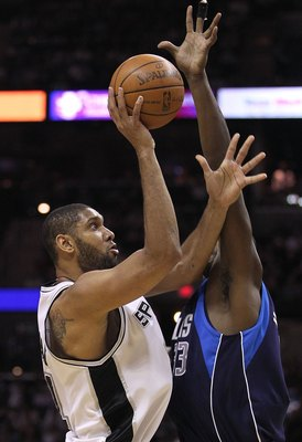 SAN ANTONIO - APRIL 29:  Tim Duncan #21 of the San Antonio Spurs in Game Six of the Western Conference Quarterfinals during the 2010 NBA Playoffs at AT&T Center on April 29, 2010 in San Antonio, Texas. NOTE TO USER: User expressly acknowledges and agrees