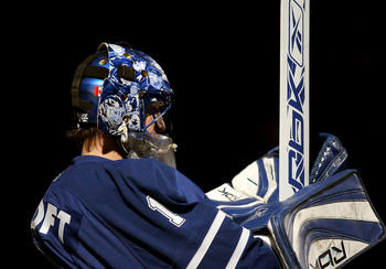 TORONTO, ON - DECEMBER 29:  Goaltender Andrew Raycroft #1 of the Toronto Maple Leafs stands in goal before the start of the game against the New York Rangers at the Air Canada Centre on December 29, 2007 in Toronto, Canada.  The Rangers won the game 6-1.