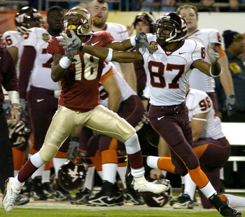 Florida State cornerback J. R. Bryant defends against  Virginia Tech wide receiver David Clowney at the 2005 ACC Football Championship Game in Jacksonville, Flordia on December 3, 2005.  FSU upset the Hokies to win an invitation to the BCC Orange Bowl gam