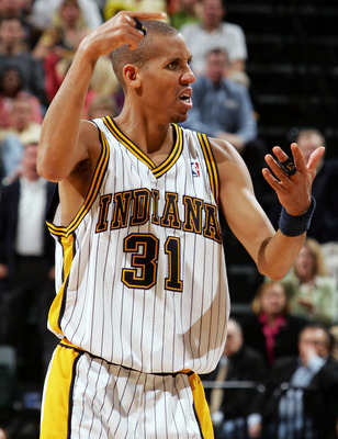 INDIANAPOLIS - MAY 15:  Reggie Miller #31 of the Indiana Pacers reacts to a call in Game four of the Eastern Conference Semifinals during the 2005 NBA Playoffs on May 15, 2005 at Conseco Fieldhouse in Indianapolis,Indiana. Richard Hamilton of the Pistons