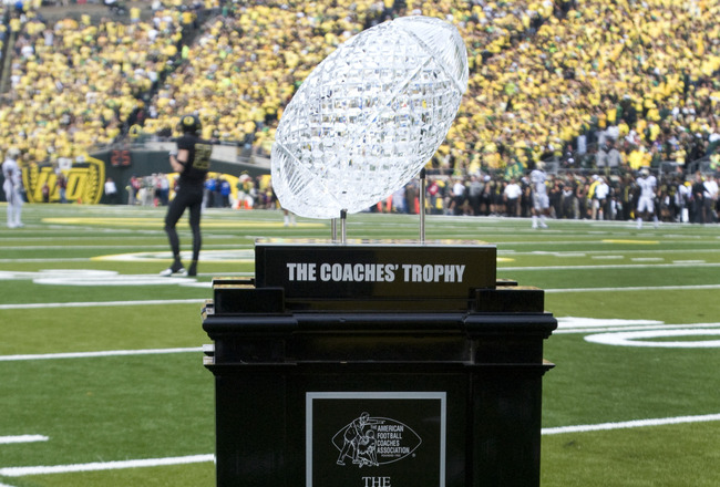 EUGENE, OR - NOVEMBER 06: The AFCA National Championship Trophy is displayed on the the field before the game between the Oregon Ducks and the Washington Huskies at Autzen Stadium on November 6, 2010 in Eugene, Oregon. (Photo by Steve Dykes/Getty Images)