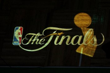 BOSTON - JUNE 10:  A detail of the finals logo being projected on the court floor as the Los Angeles Lakers get set to play against the Boston Celtics during Game Four of the 2010 NBA Finals on June 10, 2010 at TD Garden in Boston, Massachusetts. NOTE TO