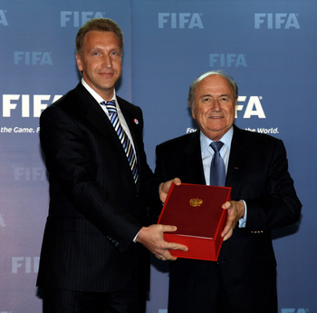 ZURICH, SWITZERLAND - MAY 14:  Igor Shuvalov, Deputy Prime-Minister of Russia presents the Russian Bid Book to Sepp Blatter, FIFA President during the 2018/2022 World Cup Bid Book Handover ceremony at FIFA Headquarters  on May 14, 2010 in Zurich, Switzerl