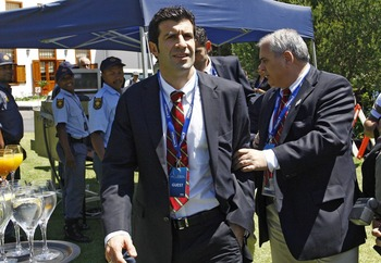 CAPE TOWN, SOUTH AFRICA - DECEMBER 4:  In this handout image provided by the 2010 FIFA World Cup Organising Committee South Africa, Luis Figo, Bid Ambassador for the Spain/Portugal Bidarrive at the 2018/2022 FIFA World Cup Bidding Country Media Expo at Le