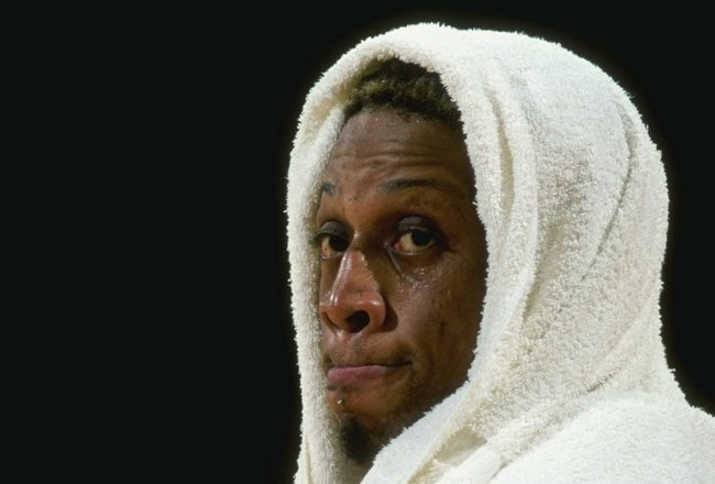 26 Feb 1999: Dennis Rodman #73 of the Los Angeles Lakers wears a towel around his head during the game against the Los Angeles Clippers at the Great Western Forum in Inglewood, California. The Lakers defeated the Clippers 99-83.  Mandatory Credit: Elsa Ha
