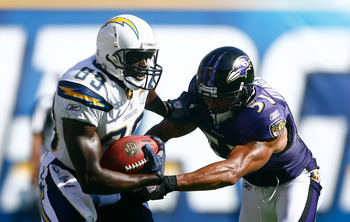 SAN DIEGO , CA - SEPTEMBER 20:  Wide receiver Vincent Jackson #83 of the San Diego Chargers is tackled by Brendon Ayanbadejo #51 of the Baltimore Ravens after a reception in the third quarter at Qualcomm Stadium on September 20, 2009 in San Diego, Califor