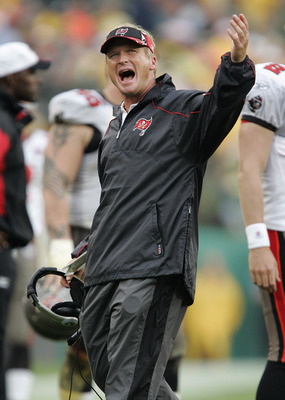GREEN BAY, WI - SEPTEMBER 25:  Head coach Jon Gruden of the Tampa Bay Buccaneers waits for a verdict on a challenge against the Green Bay Packers in the third quarter on September 25, 2005 at Lambeau Field in Green Bay, Wisconsin.  The Bucs won 17-16.  (P