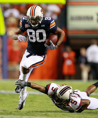 AUBURN, AL - SEPTEMBER 25:  Emory Blake #80 of the Auburn Tigers against Stephon Gilmore #5 of the South Carolina Gamecocks at Jordan-Hare Stadium on September 25, 2010 in Auburn, Alabama.  (Photo by Kevin C. Cox/Getty Images)