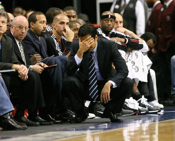 DALLAS - NOVEMBER 27: Head coach Erik Spoelstra of the Miami Heat shows his frustration during his game against the Dallas Mavericks  on November 27, 2010 at the American Airlines Center in Dallas, Texas. NOTE TO USER: User expressly acknowledges and agre