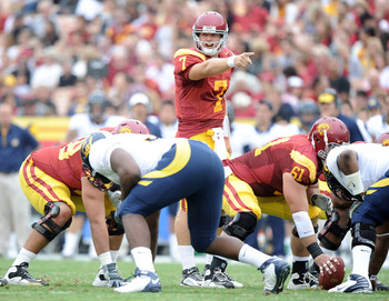 LOS ANGELES, CA - OCTOBER 16:  Matt Barkley #7 of the USC Trojans reacts at the line during the game against the California Golden Bears at Los Angeles Memorial Coliseum on October 16, 2010 in Los Angeles, California.  (Photo by Harry How/Getty Images)