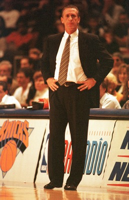 19 Dec 1995:  Head coach Pat Riley of the New York Knicks watches from the sideline during the Knicks 122-117 victory over the Houston Rockets at Madison Square Garden in New York, New York.   Mandatory Credit: Jed Jacobsohn/ALLSPORT