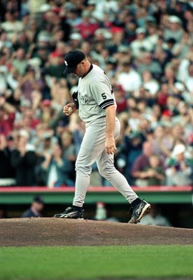 16 Oct 1999:  Roger Clemens #22 of the New York Yankees walks onto the mound during the ALCS game three against the Boston Red Sox at Fenway Park in Boston, Massachusetts. The Red Sox defeated the Yankees 13-1. Mandatory Credit: Jonathan Daniel  /Allsport