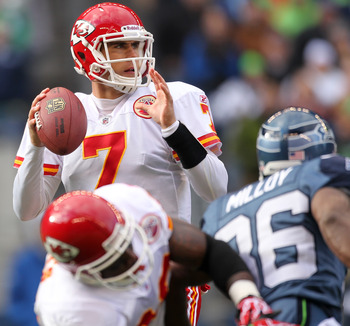 SEATTLE, WA - NOVEMBER 28:  Quarterback Matt Cassel #7 of the Kansas City Chiefs looks downfield against the Seattle Seahawks at Qwest Field on November 28, 2010 in Seattle, Washington. (Photo by Otto Greule Jr/Getty Images)