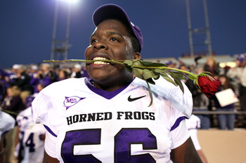 ALBUQUERQUE, NM - NOVEMBER 27: James Dunbar #56 of the TCU Horned Frogs celebrates the win over the New Mexico Lobos on November 27, 2010 at University Stadium in Albuquerque, New Mexico. TCU won 66-17. (Photo by Eric Draper/Getty Images)