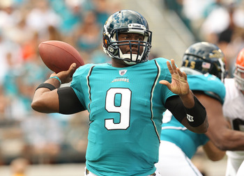 JACKSONVILLE, FL - NOVEMBER 21:  David Garrard #9  of the Jacksonville Jaguars passes during a game agaisnt the Cleveland Browns at EverBank Field on November 21, 2010 in Jacksonville, Florida.  (Photo by Mike Ehrmann/Getty Images)