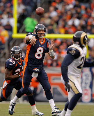DENVER - NOVEMBER 28:  Quarterback Kyle Orton #8 of the Denver Broncos makes a pass against the St. Louis Rams in the first quarter at INVESCO Field at Mile High on November 28, 2010 in Denver, Colorado. (Photo by Justin Edmonds/Getty Images)