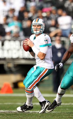 OAKLAND, CA - NOVEMBER 28:  Chad Henne #7 of the Miami Dolphins in action against the Oakland Raiders at Oakland-Alameda County Coliseum on November 28, 2010 in Oakland, California.  (Photo by Ezra Shaw/Getty Images)