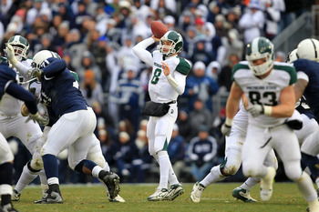 STATE COLLEGE, PA - NOVEMBER 27: Quarterback Kirk Cousins #8 of the Michigan State Spartans throws a pass during a game against the Penn State Nittany Lions on November 27, 2010 at Beaver Stadium in State College, Pennsylvania. The Spartans won 28-22. (Ph