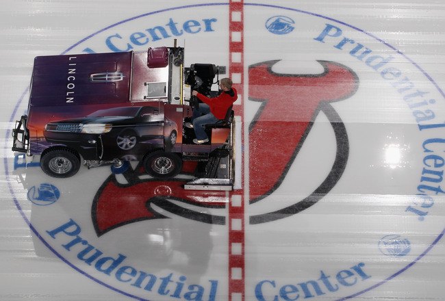 NEWARK, NJ - NOVEMBER 27:  An ice resurfacing machine does it's job prior to the game between the Philadelphia Flyers and the New Jersey Devils at the Prudential Center on November 27, 2010 in Newark, New Jersey. The Devils defeated the Flyers 2-1 in the