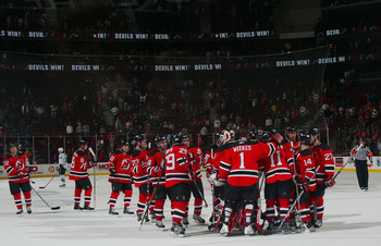 The Devils celebrate after a 6-1 win over the Tampa Bay Lightning, on October 31st, 2007.