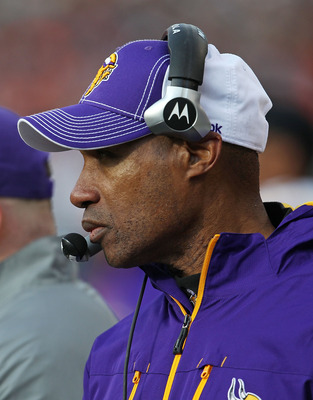 CHICAGO - NOVEMBER 14: Assistant head coach and defensive coordinator Leslie Frazier of the Minnesota Vikings watches as his team takes on the Chicago Bears at Soldier Field on November 14, 2010 in Chicago, Illinois. The Bears defeated the Vikings 27-13.