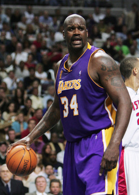AUBURN HILLS, MI - JUNE 10:  Shaquille O'Neal #34 of the Los Angeles Lakers reacts after a foul during the second quarter of game three of the 2004 NBA Finals June 10, 2004 against the Detroit Pistons at The Palace of Auburn Hills in Auburn Hills, Michiga