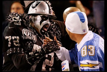 A Raider fan and a Charger fan?  What's next?  Cats and dogs?  Reps and Dems?  Make it STOP!