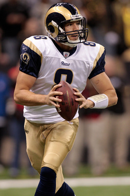 NEW ORLEANS, LA - DECEMBER 12:  Quarterback Sam Bradford #8 of the St. Louis Rams looks to throw a pass during the game against the New Orleans Saints at the Louisiana Superdome on December 12, 2010 in New Orleans, Louisiana.  (Photo by Chris Graythen/Get