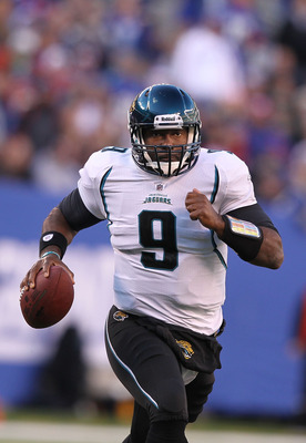 EAST RUTHERFORD, NJ - NOVEMBER 28:  David Garrard #9 of the Jacksonville Jaguarsin action against  the New York Giants during the second Quarter of their game on November 28, 2010 at The New Meadowlands Stadium in East Rutherford, New Jersey.  (Photo by A