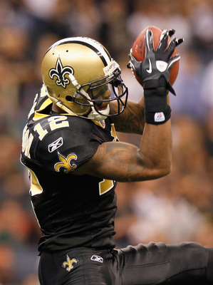 NEW ORLEANS - NOVEMBER 21:  Marques Colston #12 of the New Orleans Saints pulls in this reception against the Seattle Seahawks at Louisiana Superdome on November 21, 2010 in New Orleans, Louisiana.  (Photo by Kevin C. Cox/Getty Images)