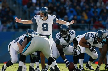 CHARLOTTE, NC - DECEMBER 16:  Matt Hasselbeck #8 of the Seattle Seahawks calls an audible against the Carolina Panthers during the second half at Bank of America Stadium on December 16, 2007 in Charlotte, North Carolina.  Carolina defeated Seattle 13-10.