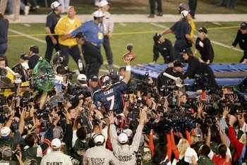 25 Jan 1998:   John Elway #7 of the Denver Broncos is carried off after defeating the Green Bay Packers in Super Bowl  XXXII at Qualcomm Stadium in San Diego, California.  The Denver Broncos defeated the Green Bay Packers 31-24. Mandatory Credit: Jed Jaco