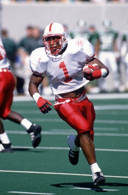 9 Sep 1995: Running back Lawrence Phillips of the University of Nebraska carries the football during the Cornhuskers 50-10 win over Michigan State at Spartan Stadium in East Lansing, Michigan.