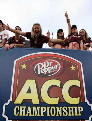 TAMPA, FL - DECEMBER 06:  Tech fans celebrate after the Virginia Tech Hokies score in the third quarter against the Boston College Eagles in the 2008 ACC Football Championship game at the Raymond James Stadium on December 6, 2008 in Tampa, Florida. Virgin