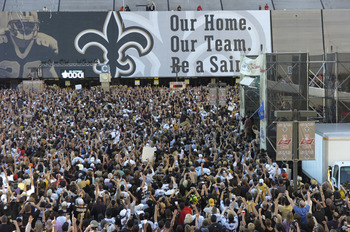 The banner drops outside the Louisana Superdome before the ESPN Monday Night Football  game September 25, 2006 in New Orleans.  (Photo by Al Messerschmidt/Getty Images)