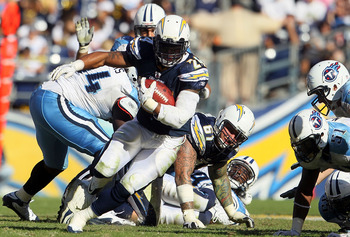 SAN DIEGO - OCTOBER 31:  Running back Ryan Mathews #24 of the San Diego Chargers carries the ball in the fouth quarter against the Tennessee Titans at Qualcomm Stadium on October 31, 2010 in San Diego, California. The Chargers defeated the Titans 33-25.