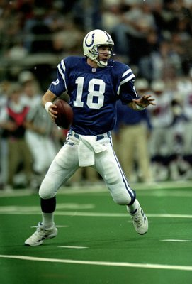12 Dec 1999: Peyton Manning #18 of the Indianapolis Colts moves back to pass the ball during a game against the New England Patriots at the RCA Dome in Indianapolis, Indiana. The Colts defeated the Patriots 20-15. Mandatory Credit: Elsa Hasch  /Allsport