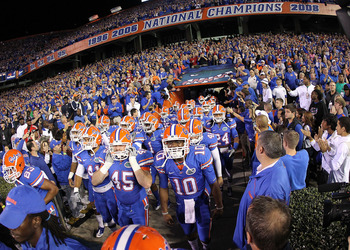 GAINESVILLE, FL - NOVEMBER 13:  The Florida Gators enter the field during a game against the South Carolina Gamecocks at Ben Hill Griffin Stadium on November 13, 2010 in Gainesville, Florida.  (Photo by Mike Ehrmann/Getty Images)