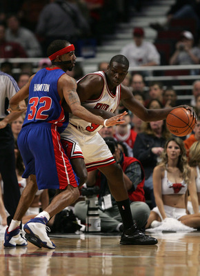 CHICAGO - MAY 13:  Luol Deng #9 of the Chicago Bullsmoves the ball against Richard Hamilton #32 of the Detroit Pistons in Game Four of the Eastern Conference Semifinals during the 2007 NBA Playoffs at the United Center on May 13, 2007 in Chicago, Illinois