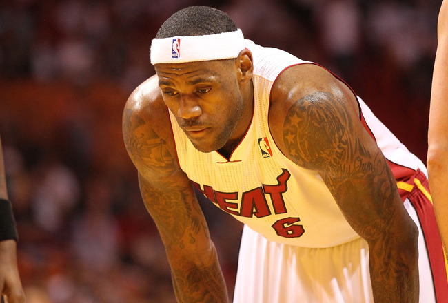 MIAMI, FL - NOVEMBER 29:  LeBron James #6 of the Miami Heat  waits to shoot a foul shot during a game against the Washington Wizards at American Airlines Arena on November 29, 2010 in Miami, Florida. NOTE TO USER: User expressly acknowledges and agrees th