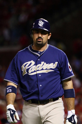 ST. LOUIS - SEPTEMBER 16: Adrian Gonzalez #23 of the San Diego Padres returns to the dugout after striking out against the St. Louis Cardinals at Busch Stadium on September 16, 2010 in St. Louis, Missouri.  (Photo by Dilip Vishwanat/Getty Images)