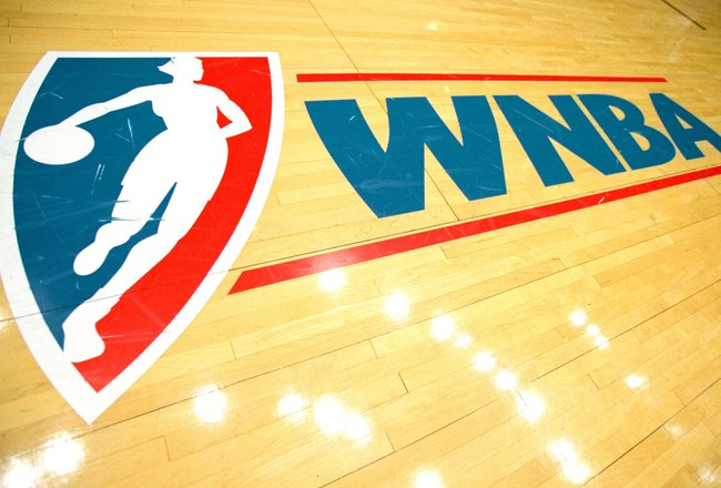 2 Jul 2000:  A view of the court WNBA Logo taken before a game between the Los Angeles Sparks and the Detroit Shock at the Great Western Forum in Inglewood, California.  The Sparks defeated the Shock 85-63. NOTE TO USER: It is expressly understood that th
