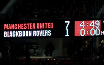 MANCHESTER, ENGLAND - NOVEMBER 27:  General View showing the final score on the scoreboard at the end of the Barclays Premier League match between Manchester United and Blackburn Rovers at Old Trafford on November 27, 2010 in Manchester, England. (Photo b
