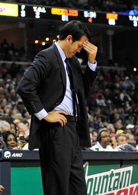MEMPHIS, TN - NOVEMBER 20:  Coach Erik Spoelstra of the Miami Heat reacts during a game against the Memphis Grizzlies at FedExForum on November 20, 2010 in Memphis, Tennessee. The Grizzlies won 97-95. NOTE TO USER:  User expressly acknowledges and agrees