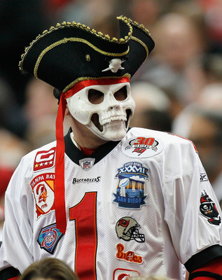 ATLANTA - NOVEMBER 07:  A fan of the Tampa Bay Buccaneers looks on during the game against the Atlanta Falcons at Georgia Dome on November 7, 2010 in Atlanta, Georgia.  (Photo by Kevin C. Cox/Getty Images)