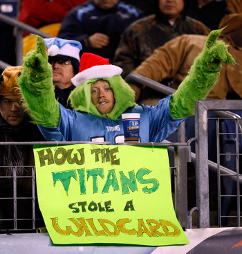 NASHVILLE, TN - DECEMBER 25: A Tennessee Titans fan gets into the spirit of the season against the San Diego Chargers on December 25, 2009 at LP Field in Nashville, Tennessee. (Photo by Rex Brown/Getty Images)