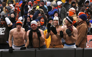CLEVELAND - JANUARY 03:  Cleveland Browns fans brave the cold weather during a game against the Jacksonville Jaguars at Cleveland Browns Stadium on January 3, 2010 in Cleveland, Ohio.  (Photo by Matt Sullivan/Getty Images)